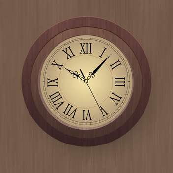 vector illustration of wooden wall clock - vector gratuit #134883