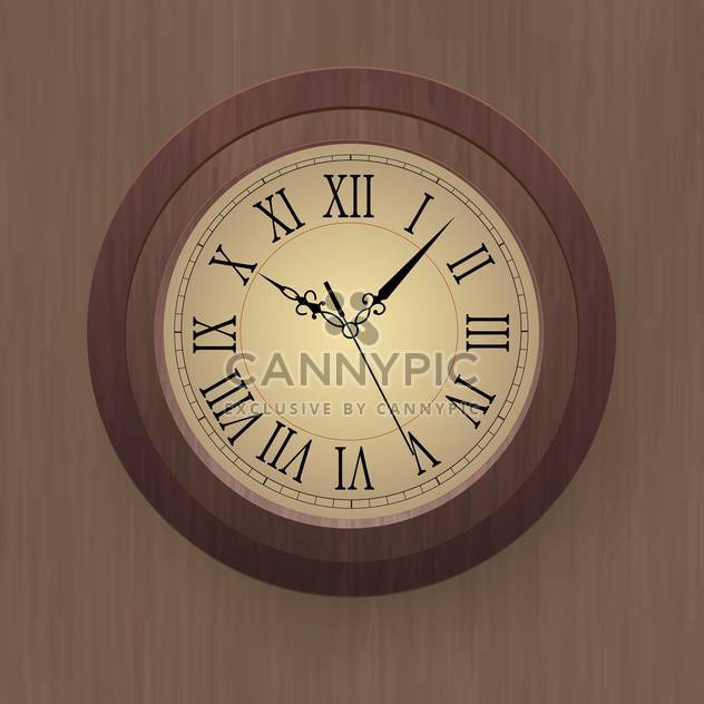 vector illustration of wooden wall clock - Free vector #134883