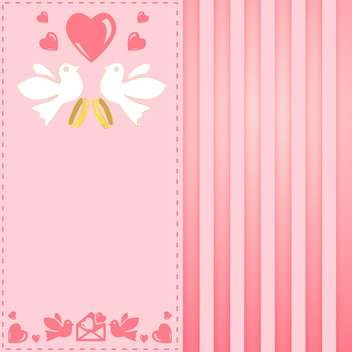 vintage pink greeting card for wedding - vector gratuit #134943