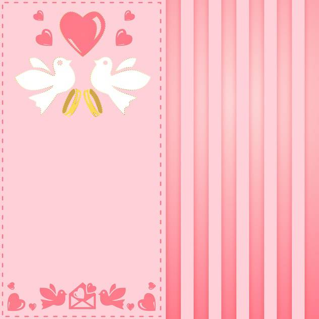 vintage pink greeting card for wedding - vector #134943 gratis