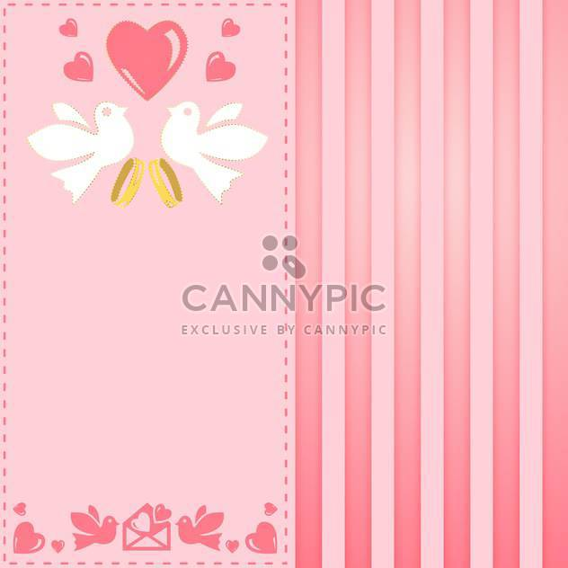vintage pink greeting card for wedding - Free vector #134943