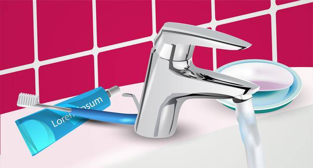 toothbrush and toothpaste on sink background - vector #134953 gratis