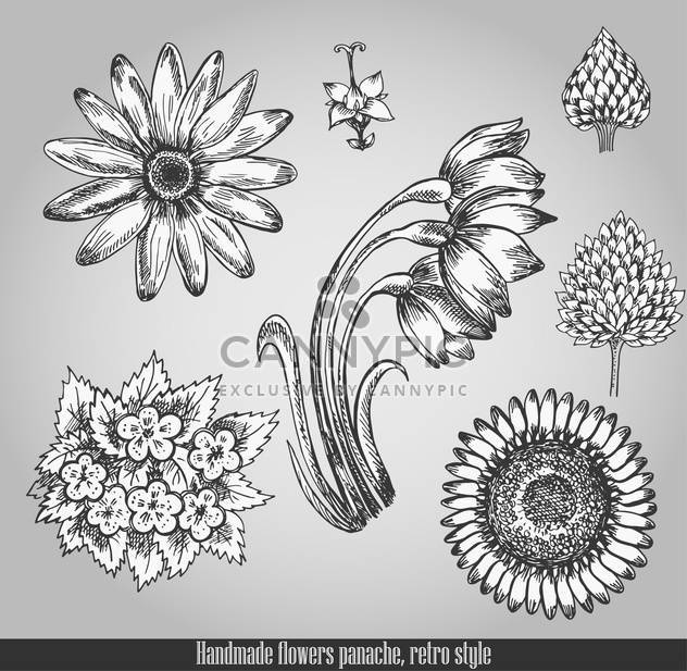 handmade flowers in retro panache style - Free vector #135093