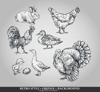 farm birds sketch retro set - vector #135103 gratis
