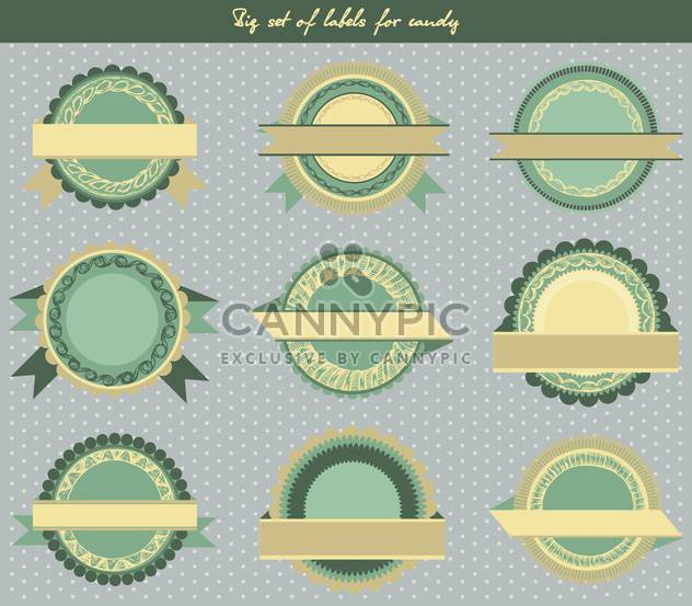 set of labels for candy in retro style - Free vector #135113