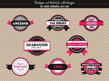 vintage set of vector labels in retro design - vector gratuit #135143