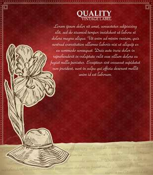 vintage style label with flower and hat - vector gratuit #135153