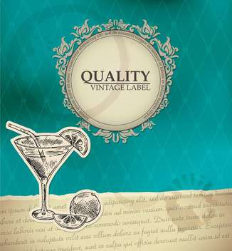 vintage style label with cocktail - vector #135173 gratis