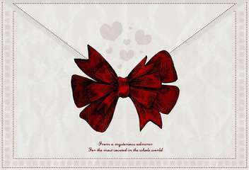 vector letter background with red bow - vector #135193 gratis