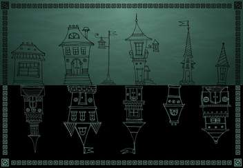 vintage vector houses on dark background - vector #135253 gratis