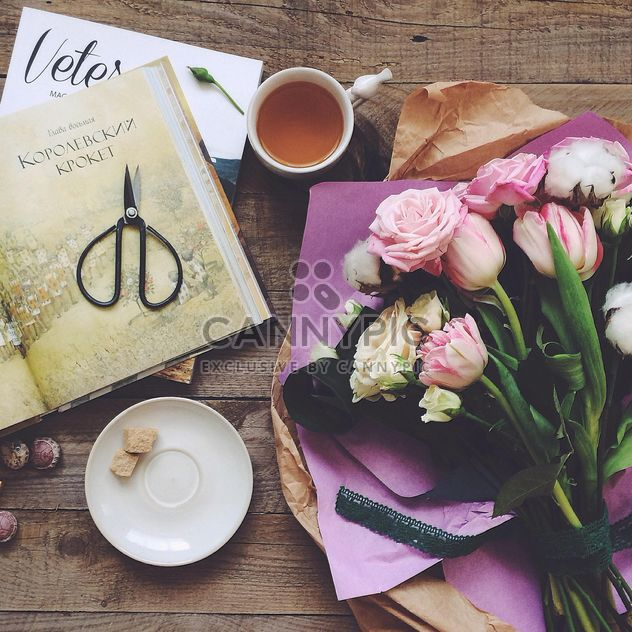 Flowers, cup of tea and books - Free image #136473