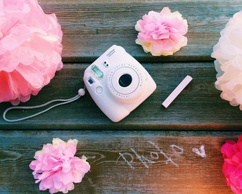 Camera and decorative flowers - image #136593 gratis