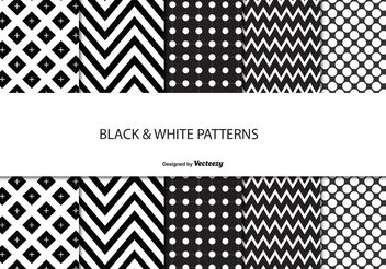 Black and White Pattern Set - vector gratuit #138843