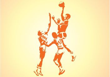 Silhouettes Of Basketball Players - Free vector #138983