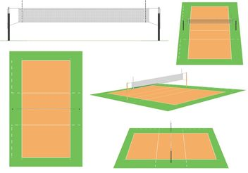 Volleyball Court Vectors - vector gratuit #139133