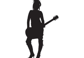 Girl Rocker Silhouette - Free vector #139713