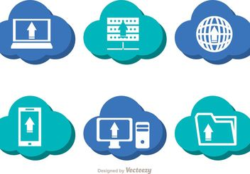 Blue Cloud Computing Vectors - Free vector #140853