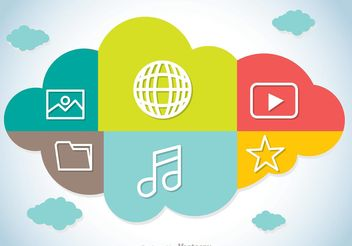 Colorful Cloud Computing Concept Vector - бесплатный vector #140883