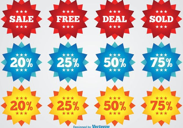 Colorful Promotional Badges - vector gratuit #140913