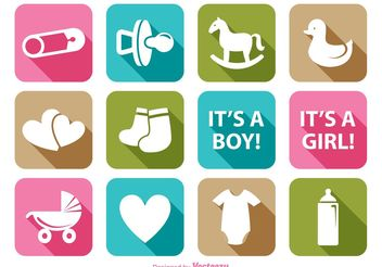 Baby Element Icon Set - vector gratuit #140923