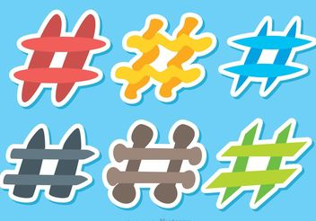 Colorful Hashtag Icons Vectors - Free vector #141013
