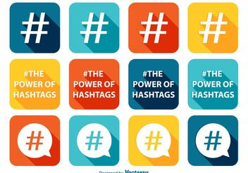 Hashtag Icon Set - Free vector #141093