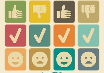 Like and Dislike Vintage Icon Set - vector gratuit #141103