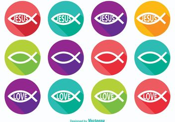 Christian Fish Symbol Icons - Kostenloses vector #141163