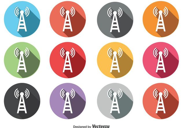 Round Phone Tower Icon Set - Free vector #141193