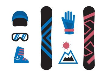 Isolated Snowboard Icons - Free vector #141393