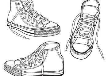 Rough, Hand Drawn Illustrated Sneakers - vector #141423 gratis