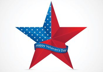 Free Happy Veterans Day With USA Star Vector - vector gratuit #141863