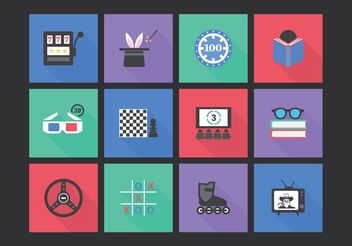 Free Flat Entertainment Vector Icon Set - бесплатный vector #141943