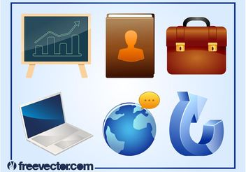 3D Business Icons - Free vector #142043