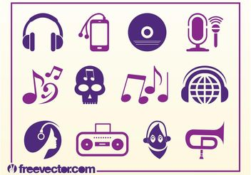 Musical Icons - vector gratuit #142123