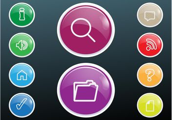 Shiny Colorful Buttons - Free vector #142163