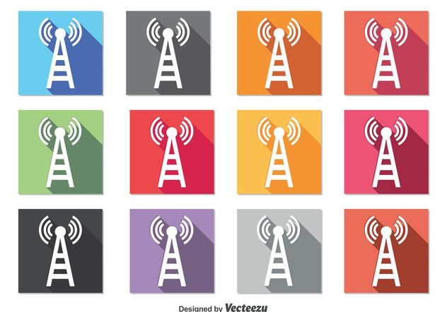 Cell Phone Tower Icons - Free vector #142173