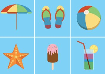 Bright Summer Vector Icons - vector #142453 gratis