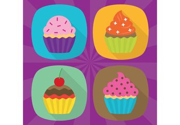 Flat Cupcake Vector Icons - Free vector #142493