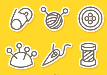Sewing And Needlework Outline Icons Vectors - бесплатный vector #142543