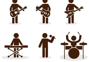 Band Stick Figure Icons Vector Pack - Free vector #142553