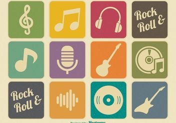 Retro Music Icons - Free vector #142563