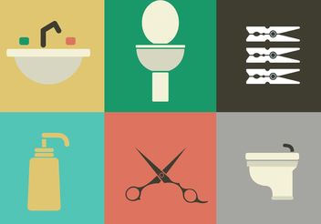 Rest Room and Hygiene Vector Icons - vector #142583 gratis