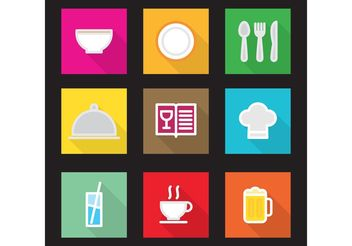 Flat Kitchen Vector Icons - Free vector #142683