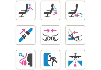 Free Aircraft Safety Vector Icons - бесплатный vector #142703