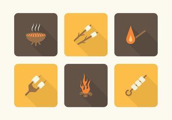 Free Camp Fire And Marshmallows Vector Icons - Free vector #142733