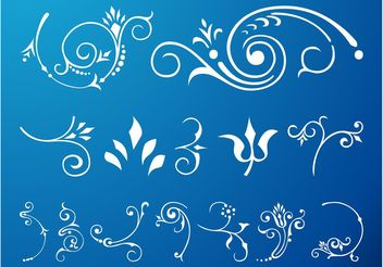 Swirling Floral Scroll Set - Free vector #143343