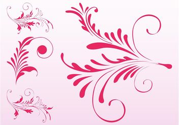 Pink Floral Scrolls - Free vector #143363