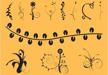 Swirls And Flowers Set - Free vector #143393