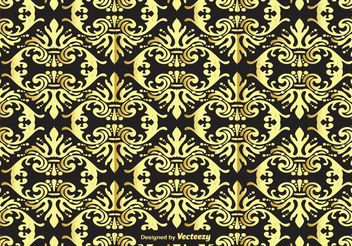 Gold and Black Damask Background - Free vector #143483